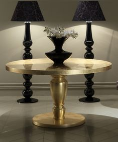 Add A Touch Of Glamour To Any Setting With The Diva Collection Round Dining Table Shown Here In Finest Gold Leaf High Gloss Lacquered Finish