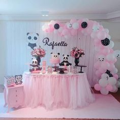 Cow Birthday Parties, Panda Birthday Party, 3rd Birthday Cakes, Panda Party, Baby Girl Birthday, Birthday Party Decorations, Baby Shower Themes, Baby Boy Shower, Panda Themed Party