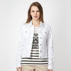 This white denim jacket from Red Herring has a silver button fastening and four front pockets.