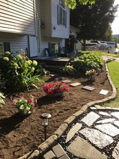 Brick Lined Flower Bed Edging Front Porch Landscape, Front Yard Landscaping, Landscaping Ideas, Hosta Plants, Backyard Projects, Backyard Patio, Backyard Ideas, Diy Projects, Raised Planter