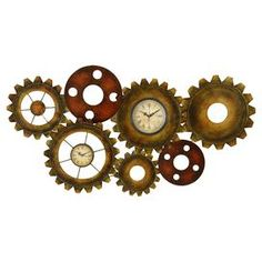 "Add an industrial-chic touch to your entryway or kitchen with this eye-catching metal wall clock, showcasing a gear silhouette and distressed brown finish.  Product: Wall clockConstruction Material: MetalColor: BrownFeatures: Gear silhouette Accommodates: (1) AA battery each - not includedDimensions: 17"" H x 34"" W x 2"" D"