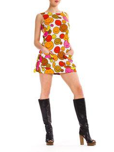 1960s Vintage Multicolor Smiley Dress