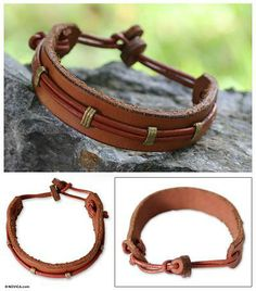 Home Decor, Jewelry & Gifts by Talented Artisans Worldwide Diy Leather Gifts, Diy Leather Projects, Leather Diy Crafts, Leather Cuffs, Leather Jewelry, Leather Men, Leather Bracelets, Leather Belts, Leather Jackets