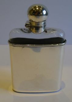 Unusual Antique English Sterling Silver Glass Hip or Liquor Flask 1900 | eBay