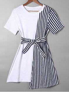 Striped Asymmetrical Mini Tee Dress - Blue - Blue S Girls Fashion Clothes, Teen Fashion Outfits, Fashion Dresses, Trendy Fashion, Stylish Dresses, Cute Dresses, Maxi Dresses, Sleeve Dresses, Short Casual Dresses