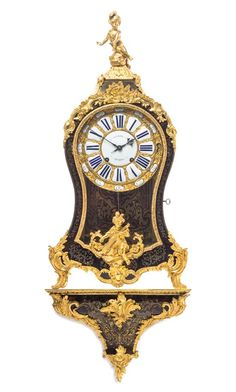 A Louis XV Gilt Bronze Mounted Boulle Marquetry Bracket Clock