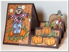 Happy Thanksgiving created by Frances Byrne using Digital Stamps from Cornish Heritage Farms and Sizzix Basic Step-Ups Framelits Fancy Fold Cards, Folded Cards, 3d Cards, Fall Cards, Holiday Cards, Winter Cards, Side Step Card, Pumpkin Cards, Step Cards