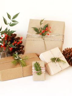 wrap presents with baker's twine and greenery