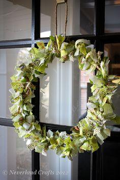 Rag Wreath  www.neverlandcrafts.blogspot.com