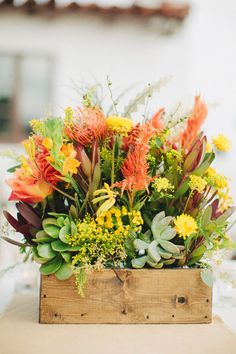 succulents, pincushions and more as boxed centerpieces - liking the idea of something that can be pre-planted Tall Flower Centerpieces, Wedding Centerpieces Mason Jars, Yellow Centerpieces, Centrepieces, Southwestern Wedding, Southwestern Home Decor, Floral Wedding, Rustic Wedding, Wedding Flowers