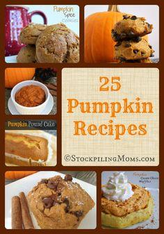 25 Pumpkin Recipes that you will LOVE! #pumpkin