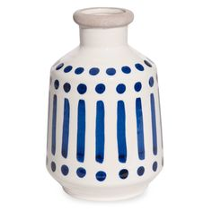 Ecrufarbene Keramikvase mit blauen Motiven H.20cm