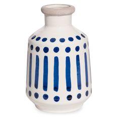 Vase en céramique écrue motifs bleus H.20cm