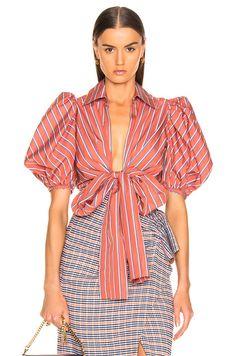 Silvia Tcherassi Primula Blouse in Coral Stripes Girl Fashion, Fashion Dresses, Womens Fashion, Fashion Trends, Beautiful Blouses, Beautiful Outfits, Fashion Advice, Blouse Designs, Look