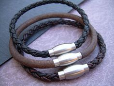 Mens Leather Bracelet with Stainless Steel by UrbanSurvivalGearUSA, $22.99
