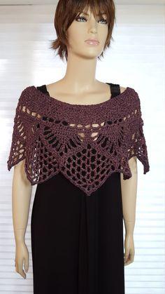 Crochet Purple Poncho Capelet in Unique Star Shape by GreatCrochet