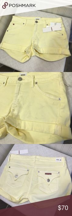 """HUDSON JEANS HAMPTON CUFFED BANANA WASH DENIM HUDSON JEANS HAMPTON CUFFED BANANA WASH DENIM SHORTS. 93% Cotton 5% Polyester 2% Lycra. 31"""" waist 9"""" rise 2"""" inseam. Stretchy fabric. Short have dusty stains in front left side as shown in pics. New with tags. Hudson Jeans Shorts Jean Shorts"""