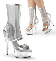 "PLEASER DELIGHT-600-31 Hot Silver Platform Mesh Shaft 6"" Heel Exotic Ankle Boots #Pleaser #FashionAnkle #Clubwear"