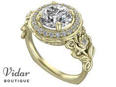 Diamond Engagement Ring,Unique Engagement Ring,Yellow Gold Ring,Flower Engagement Ring,Vintage Ring,Leaves Ring 2 Carat,Lotus Ring,Leaf Ring