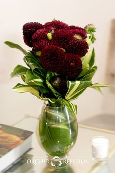 Sexy wine-colored dahlias accentuated with long Ti leaves looking both teasing and tempting. This classy arrangement is set in clear  glass vase for added style.