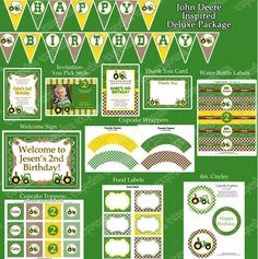 John Deere Inspired Printable Deluxe Package birthday party
