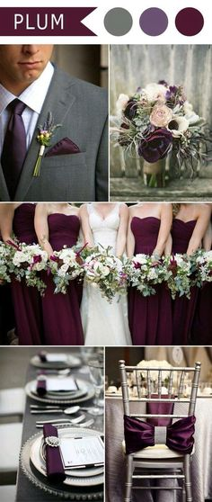 plum purple and grey elegant wedding color ideas Angela the middle purple/grey color I think is close to the color you described to me. autumn wedding colors / wedding in fall / fall wedding color ideas / fall wedding party / april wedding ideas Perfect Wedding, Dream Wedding, Wedding Day, Trendy Wedding, Wedding Rustic, Wedding Venues, Wedding Stuff, Plum Wedding Decor, Wedding 2017