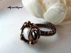 Bridal Dreams - Pearl Copper Ring Wire Wrapped with Natural Freshwater Pearl, size 7