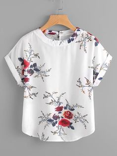 Material: Polyester Color: White Pattern Type: Floral Collar: Round Neck Style: Casual Type: Tunic Decoration: Button Sleeve Length: Short Sleeve Fabric: Fabric has no stretch Season: Summer Bust(Cm): Length(Cm): Sleeve Length(Cm): Blouse Patterns, Blouse Designs, Sewing Blouses, Schneider, Blouse Styles, Mode Inspiration, Cute Tops, Shirt Blouses, Blouses For Women
