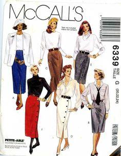 PATTERN for misses Skirts sz 20 22 24 close fitting straight button up waistband #McCall #Straightclosefittingskirtbuttondetails
