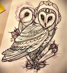 Miss Juliet...Tattoo,Draw and Life: Barn owl tattoo!! Barbagianni tattoo
