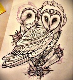 Miss Juliet...Tattoo,Draw and Life: Barn owl tattoo!! Barbagianni tattoo