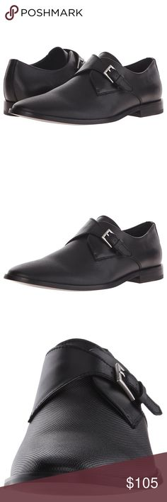 NEW Calvin Klein Black Leather Monk Strap Shoes Brand new. Bought for my husband but he didn't love the strap look on him and I passed the return time. Final sale. Originally $150 plus ship Calvin Klein Shoes Oxfords & Derbys