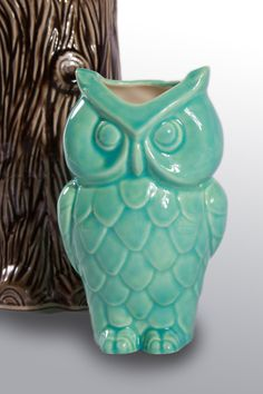 Vintage Ceramic Owl Vase Turquoise by modclay on Etsy, $28.00