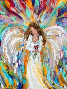 impressionist angel paintings | Original oil painting Spring Angel palette knife modern impressionism ...