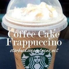 haven't tried ✖️coffee cake frappuccino from the starbucks secret menu Starbucks Secret Menu Drinks, Starbucks Frappuccino, Starbucks Coffee, Frappuccino Recipe, Starbucks Hacks, Smoothies, Secret Recipe, Coffee Recipes, Drink Recipes