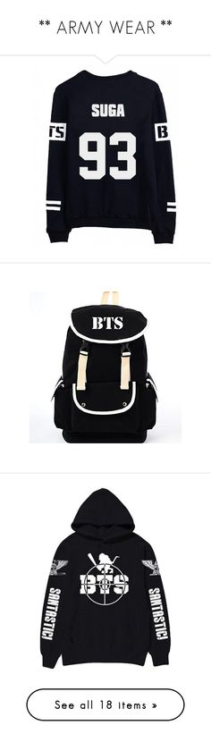 """** ARMY WEAR **"" by seijous ❤ liked on Polyvore featuring tops, bags, canvas bag, black knapsack, black canvas rucksack, canvas rucksack, star bag, bts, shirts and baseball shirts"