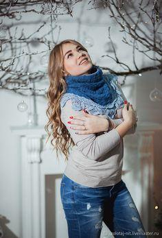 Купить Снуд Середина ноября - бохо, васильковый, снуд вязаный, вязаная мода, снуд теплый