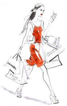 Estas ilustraciones del mundo de la moda,en blanco y negro me parecen muy delicadas y modernas...                                           ...