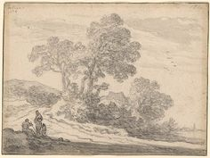 Pieter de Molijn | Cottage amid Clump of Trees at the Edge of a Road, with Three…