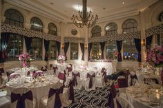 Purple and white flood the gorgeous Tip Top Tap ballroom in this #ChicagoWedding #allertonhotel #chicagowedding #warwickhotels #love