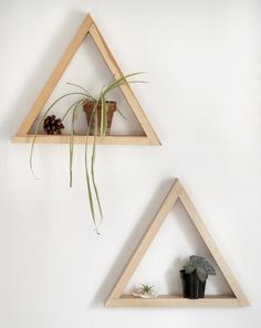 """Just look at this rustic wooden wall shelf.  It can be good part of your minimalistic interior.  Wooden geometric shelf """"Triangle"""" – Three Snails."""