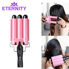 20-32cm Automatic Perm Splint Ceramic Hair Curler 3 Barrels Big Wave Hair Curling Iron Hair Waver Curlers Rollers Styling Tools #Affiliate