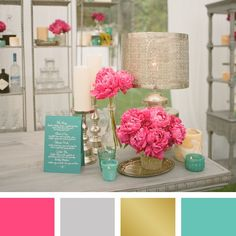 Love, minus the pink. Maybe yellow or green. Pink, silver, gold and aqua color palette