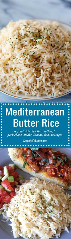 This Mediterranean butter rice has just the right hint of butter and lots of flavor from the stock. Up the ante of any dish by serving this butter rice on. Side Recipes, Greek Recipes, Dinner Recipes, Spanish Recipes, Water Recipes, Buttered Rice Recipe, Steaks, Rice Side Dishes, Fried Fish Side Dishes