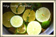 WILLIAM SONOMA DIY SCENT! I've been playing around with another AMAZING scent! Lime Vanilla Thyme - My house smells awesome! 2 Whole Limes Sliced 2 Cups Water 1 T. Vanilla 3 Sprigs Fresh Thyme Simmer on stove and enjoy! Continue to add water as it simmer's down. Store in jar until use up to 2 weeks!