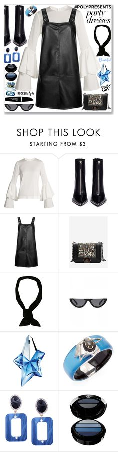 """""""#PolyPresents: Party Leather Dresses"""" by jecakns ❤ liked on Polyvore featuring Galvan, Alexander Wang, Thierry Mugler, Alexis Bittar, Armani Beauty and Max Factor"""