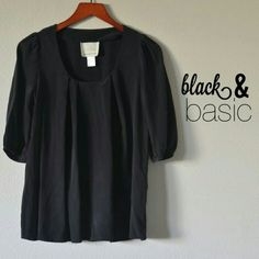 Black Top 100% Silk Very cute top in black silk. Excellent condition. Would fit a S, M best. nordstrom  Tops
