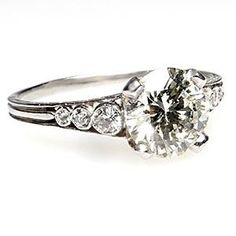 Vintage Engagement Ring Diamond Solitaire w/Accents Solid Platinum