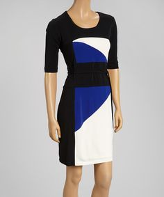 Look what I found on #zulily! Black & Cobalt Color Block Scoop Neck Dress by Sandra Darren #zulilyfinds