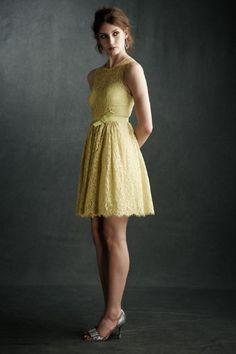 Yellow, lace dress